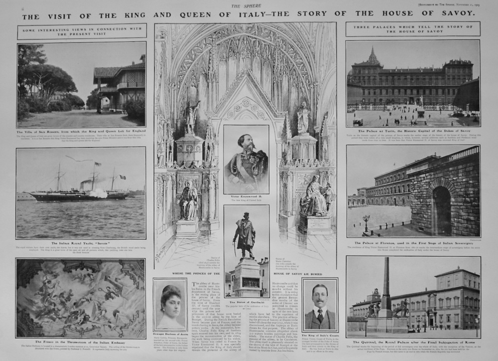The Sphere, November 21st, 1903.  (Supplement) : The Visit of Italy's King and Queen to England : The Story of the House of Savoy. 1903