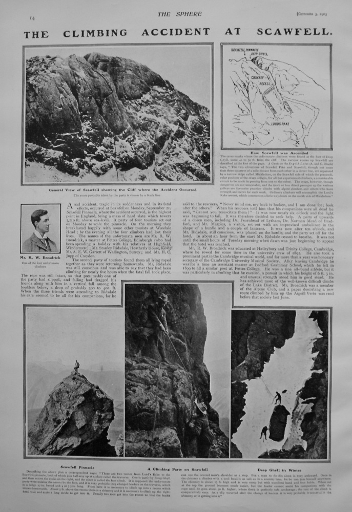 The Climbing Accident at Scawfell. 1903