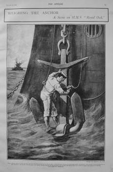 """Weighing the Anchor : A Scene on H.M.S. """"Royal Oak."""" 1903"""