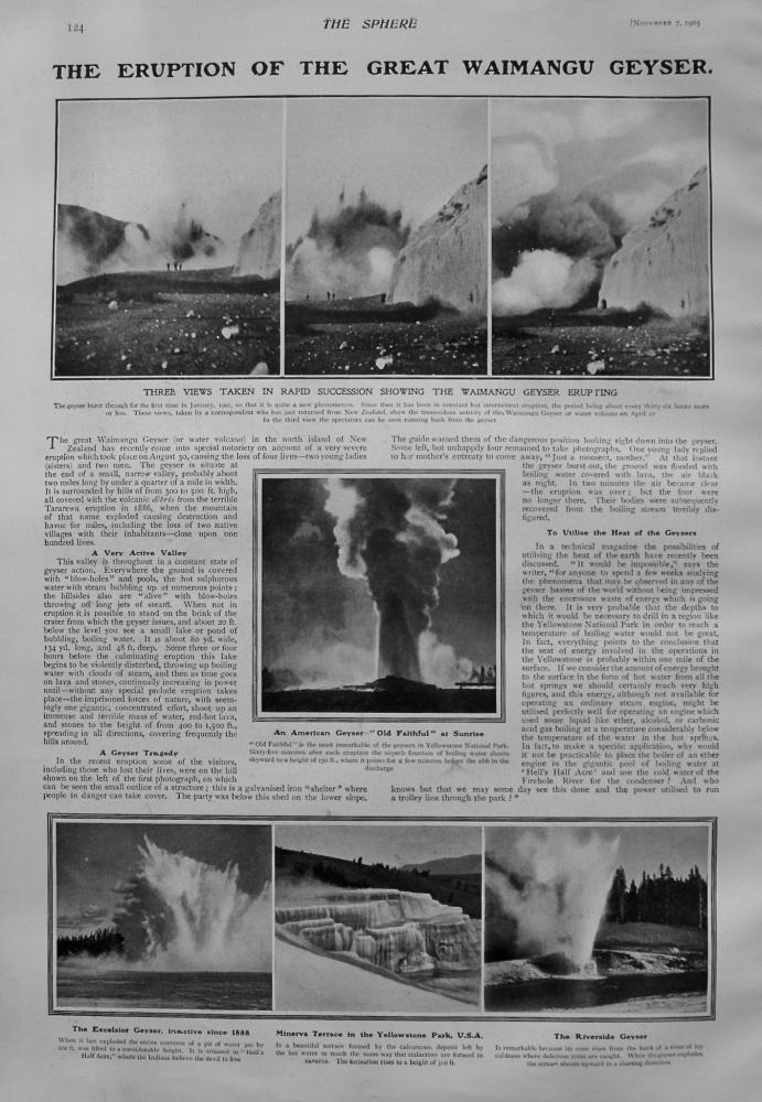 Eruption of the Great Waimangu Geyser. 1903