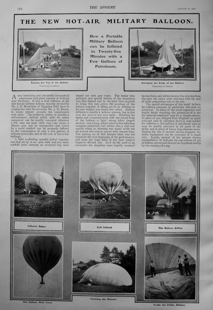 The New Hot-Air Military Balloon : How a Portable Military Balloon can by Inflated in Twenty-Five Minutes with a Few Gallons of Petroleum. 1903