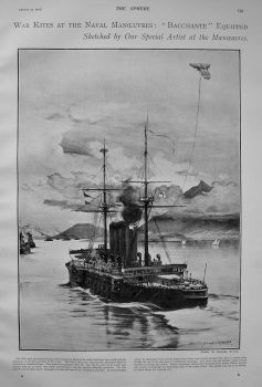 """War Kites at the Naval Manoeuvres : """"Bacchante"""" Equipped. 1903"""