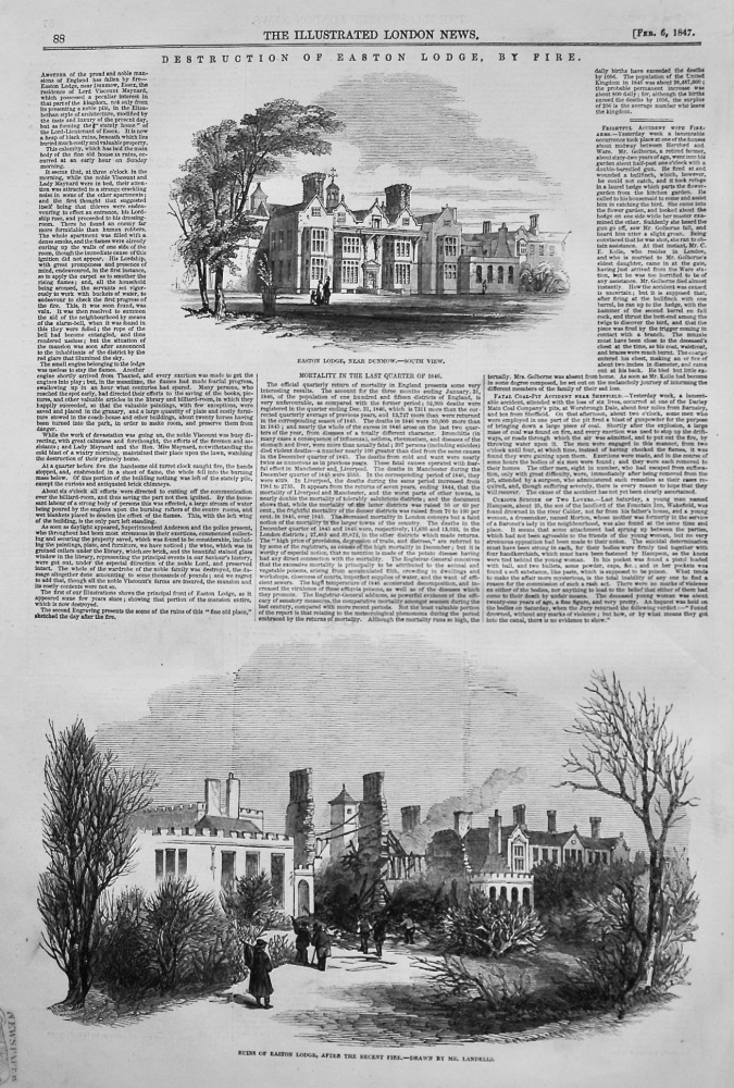 Destruction of Easton Lodge, by Fire. 1847