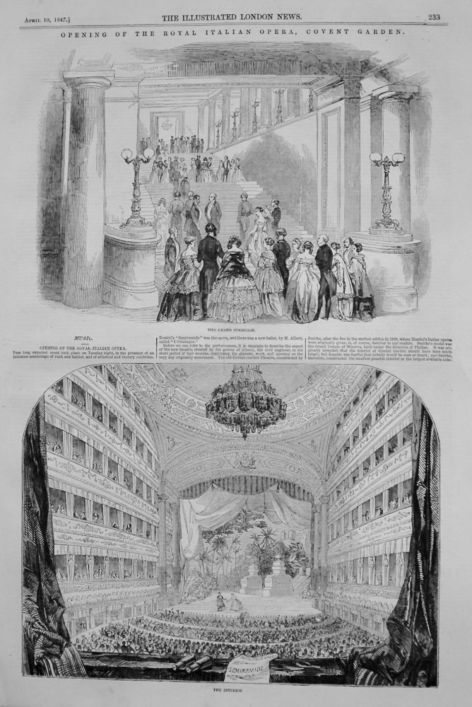Opening of the Royal Italian Opera, Covent Garden. 1847