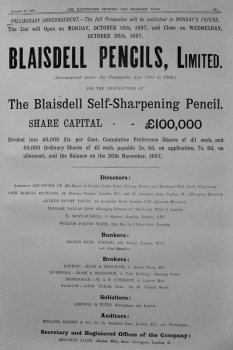 Blaisdell Pencils, Limited. 1897.