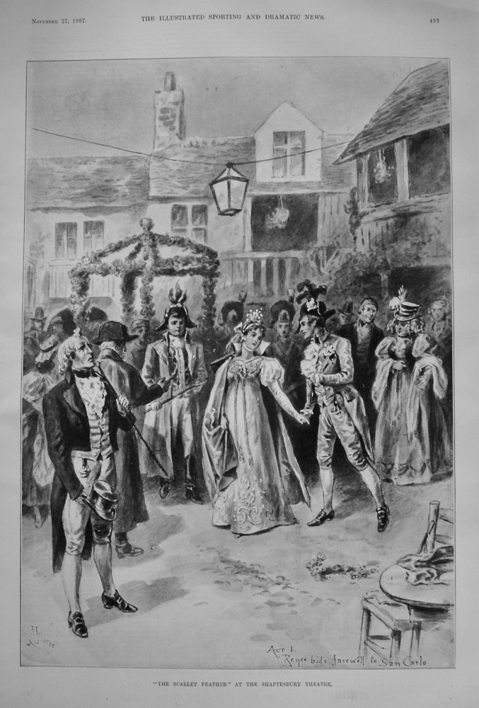 """""""The Scarlet Feather"""" at the Shaftesbury Theatre. 1897"""