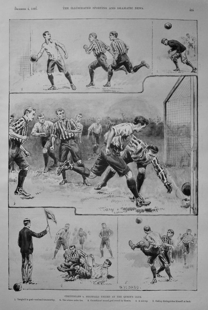 Corinthians v. Sheffield United at the Queen's Club. (Football) 1897.