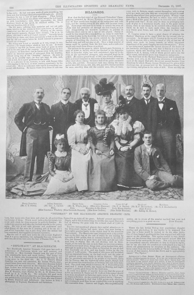 """Diplomacy"" by the Blackheath Amateur Dramatic Club. 1897"