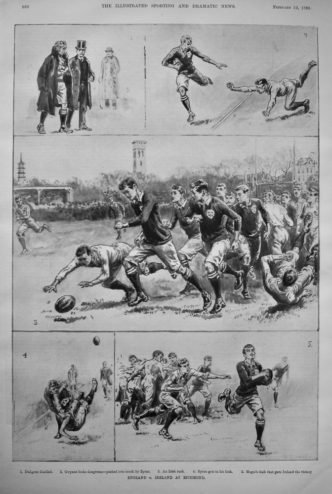 England v. Ireland at Richmond. (Rugby) 1898.