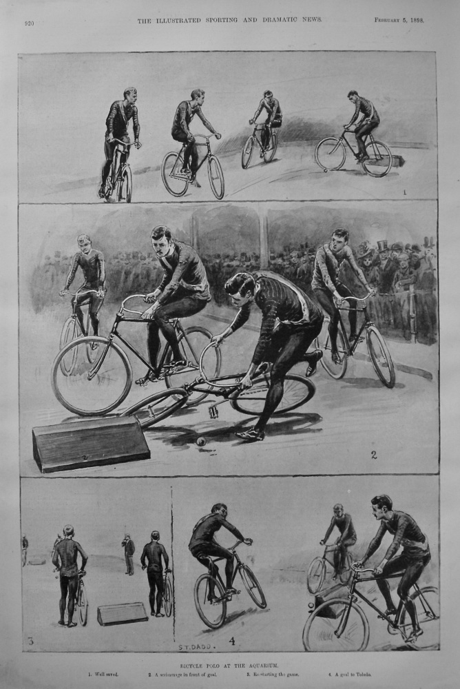 Bicycle Polo at the Aquarium. 1898