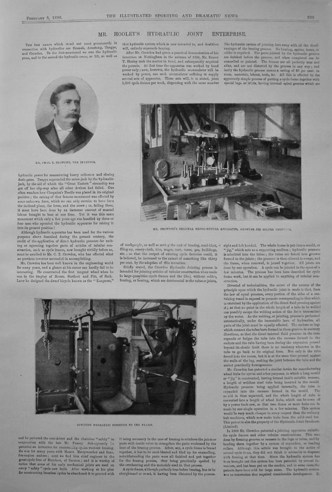 Mr. Hooley's Hydraulic Joint Enterprise. 1898.