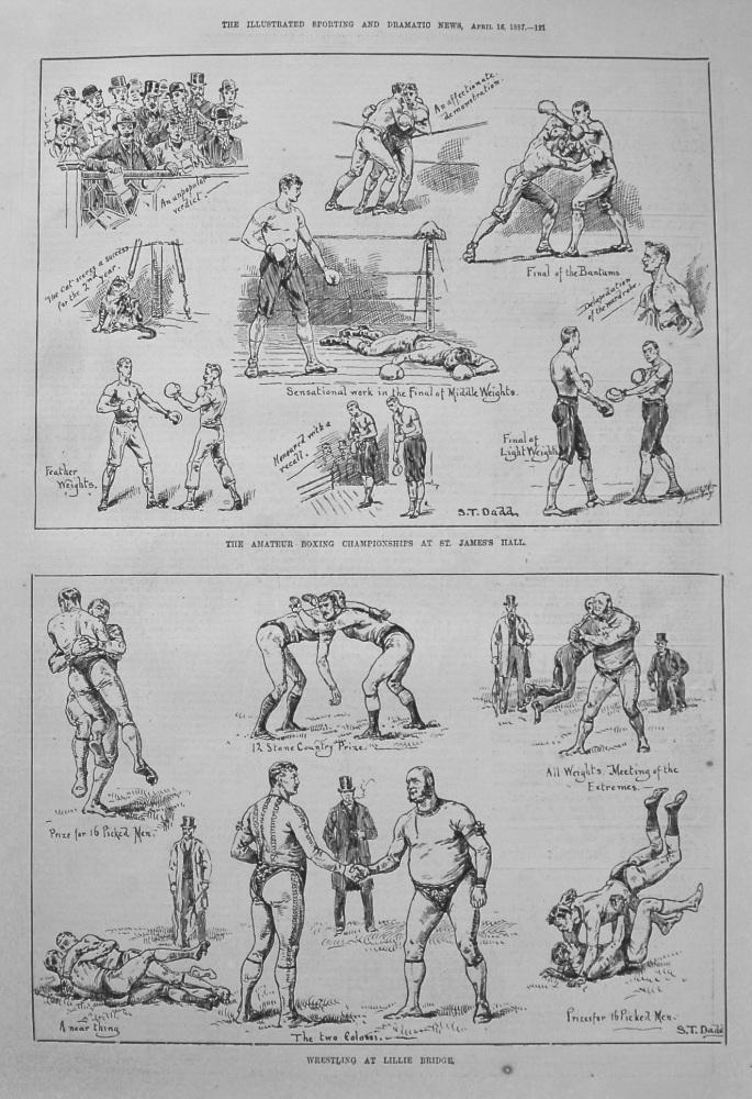 Wrestling at Lillie Bridge. 1887.