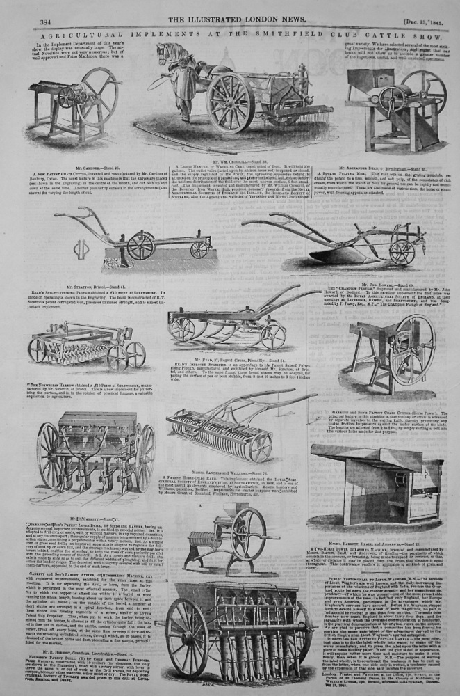 Agricultural Implements at the Smithfield Club Cattle Show. 1845