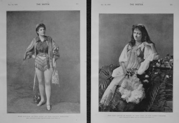"""Miss Hylton as Don Juan, at the Gaiety Theatre. &  Miss Cissy Loftus as Haidee in """"Don Juan,"""" at the Gaiety Theatre. 1893"""