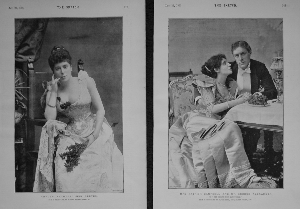 """Helen Mathers"" (Mrs. Reeves). & Mrs Patrick Campbell and Mr. George Alexander in ""The Second Mrs. Tanqueray."" 1893-4."