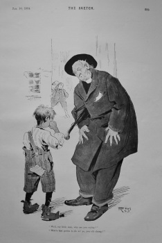 """Well, my little man, why are you crying?""  ""Wot's that got to do wi' ye, you old chump?"" 1894."