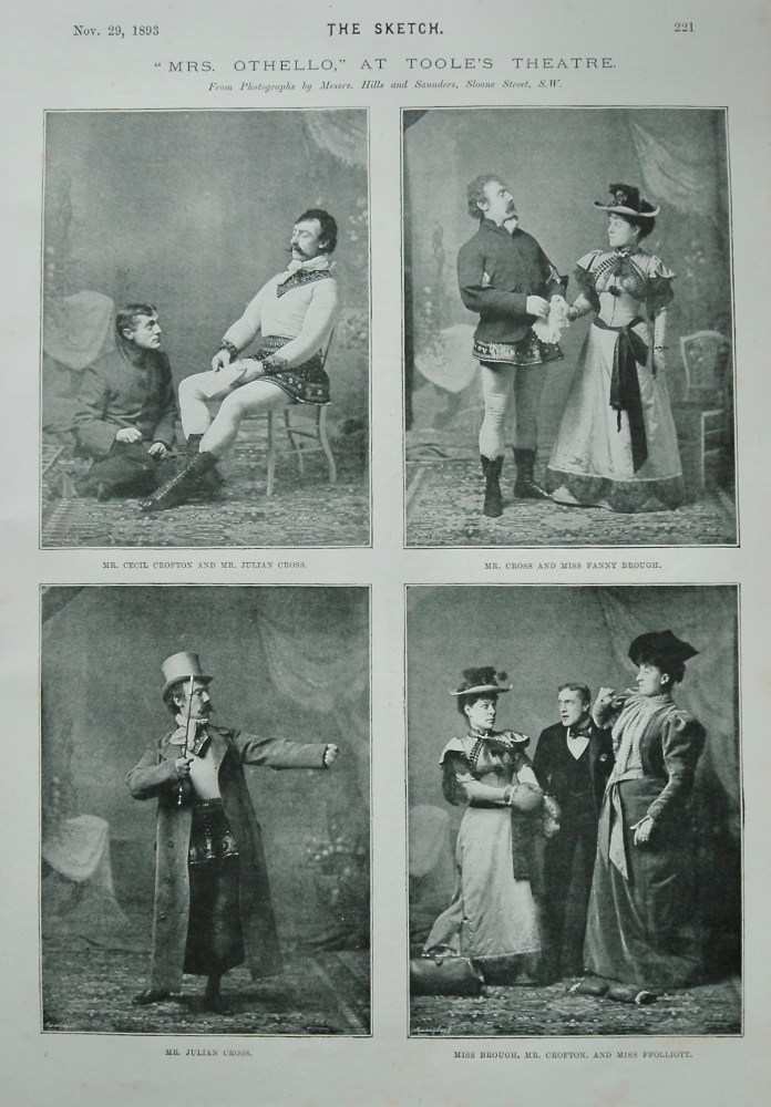 """""""Mrs. Othello,"""" at Toole's Theatre. 1893."""