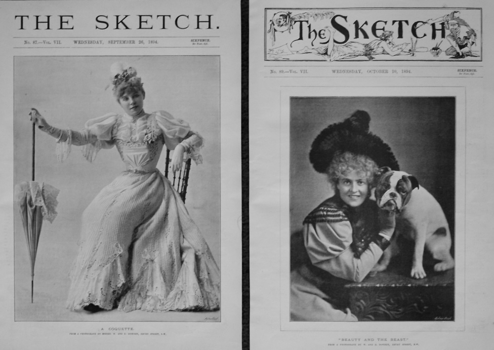 """A Coquette.  &  """"Beauty and the Beast."""" (Front Pages) 1894."""