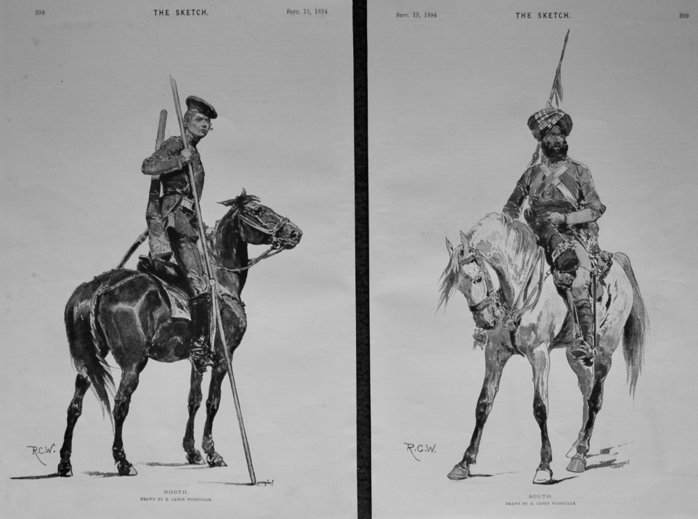 """""""North.""""  &  """"South."""" (2 Full Page Drawings). 1894"""