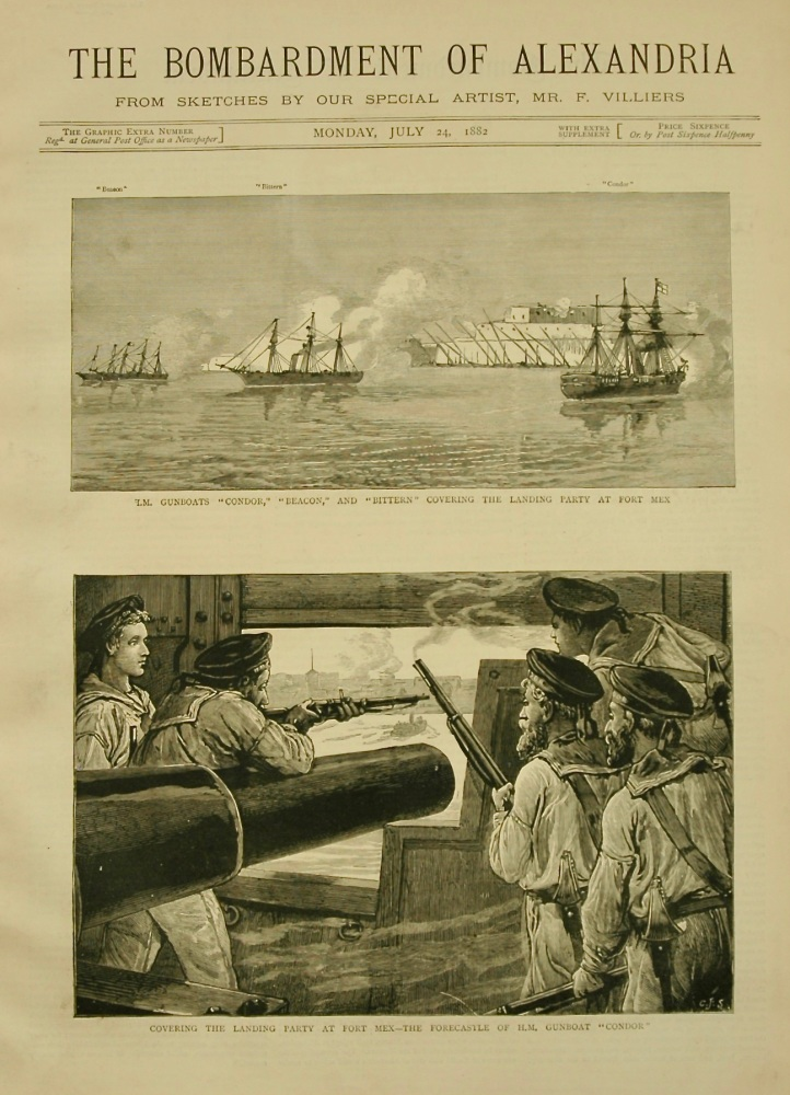 The Graphic. (Extra Number July 24th, 1882)  :  The Bombardment of Alexandria.