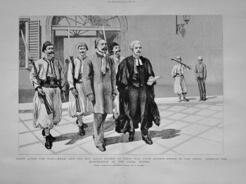Egypt after the War - Arabi and the Hon. Mark Napier on their Way from Arabi's Prison to the Court : Crossing the Quadrangle of the Daira Sanieh. 1882
