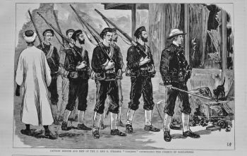 """Captain Briscoe and Men of the P. and O. Steamer """"Tanjore"""" Patrolling the Streets of Alexandria. 1882"""