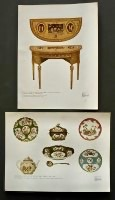 1- Worcester Porcelain of the Dr. Wall Period, Circa 1760. 2- One of a Pair of Adam Side-Tables, the Top Painted in the manner of Pergolas. December 1