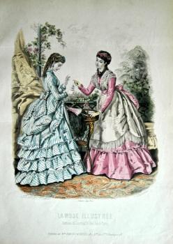 La Mode Illustree. 1869. Number 33. (Coloured Lithograph)