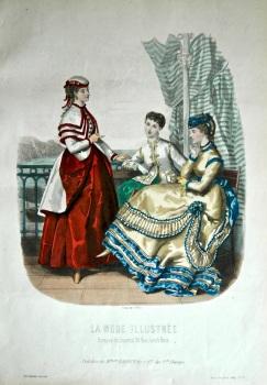 La Mode Illustree. 1869. Number 32. (Coloured Lithograph)