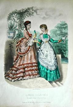 La Mode Illustree. 1869. Number 31. (Coloured Lithograph)