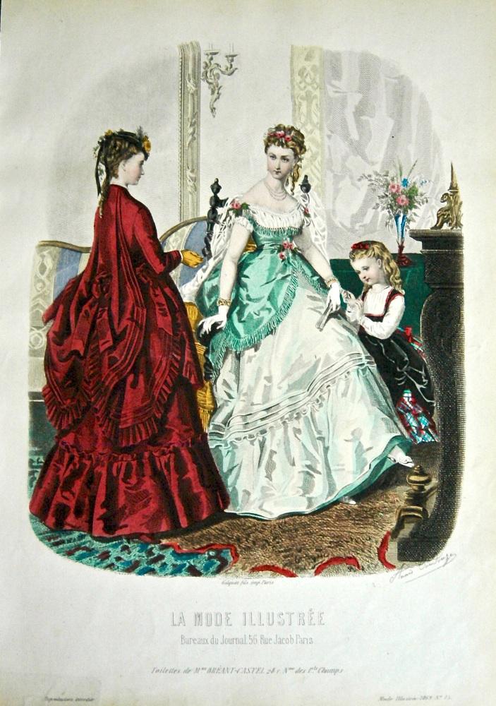 La Mode Illustree. 1868. Number 15. (Coloured Lithograph)