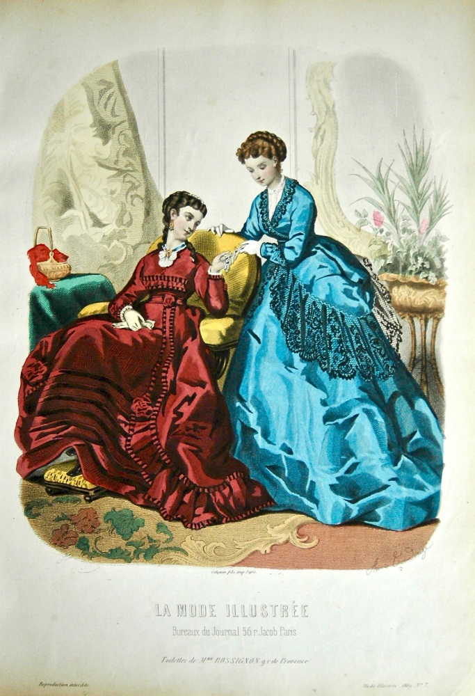 La Mode Illustree. 1869. Number 7. (Coloured Lithograph)