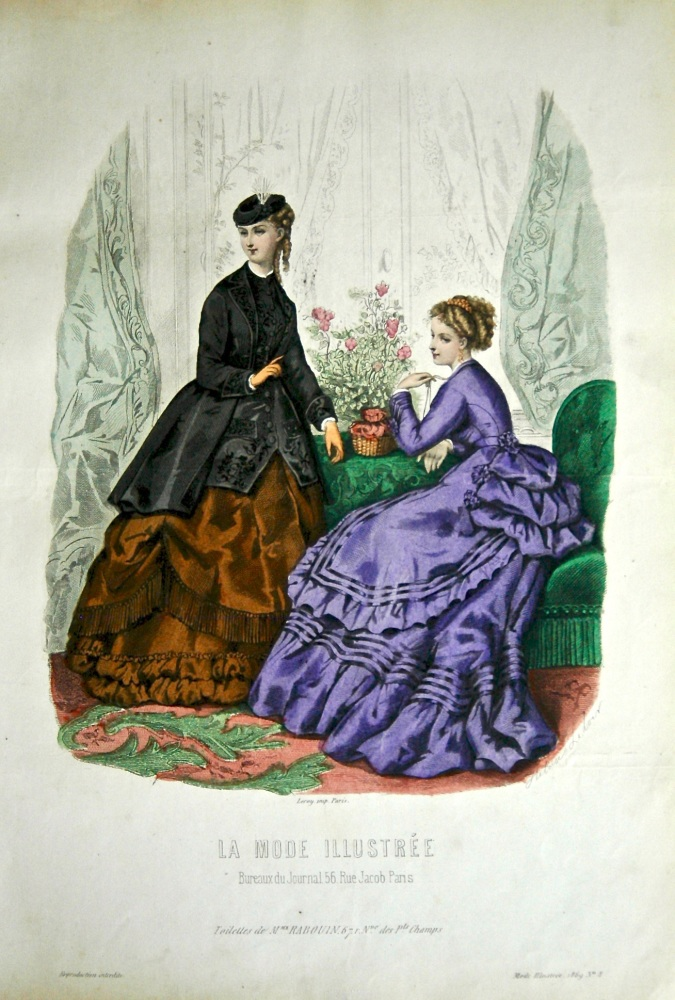 La Mode Illustree. 1869. Number 8. (Coloured Lithograph)