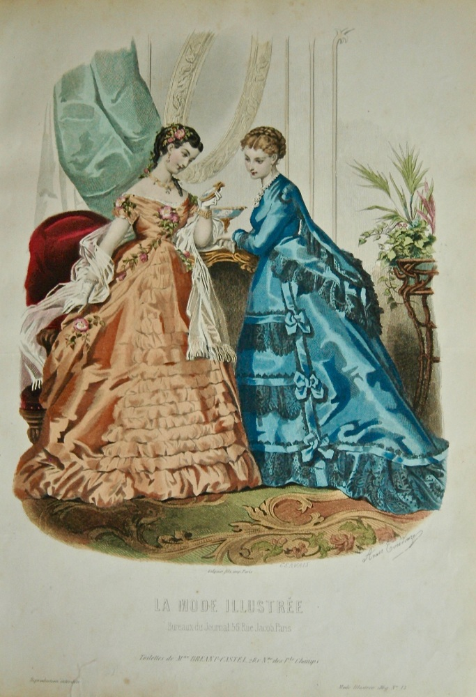 La Mode Illustree. 1869. Number 13. (Coloured Lithograph)