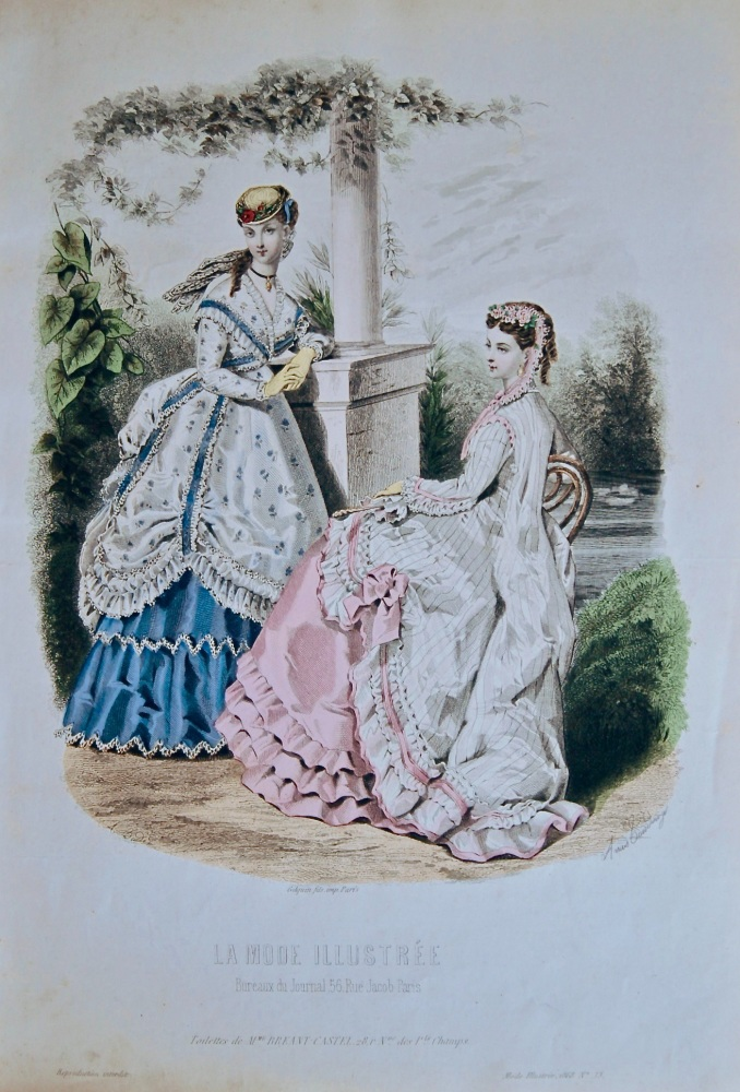 La Mode Illustree. 1868. Number 33. (Coloured Lithograph)