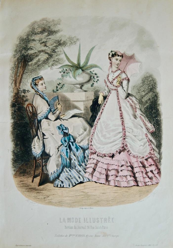 La Mode Illustree. 1868. Number 30. (Coloured Lithograph)