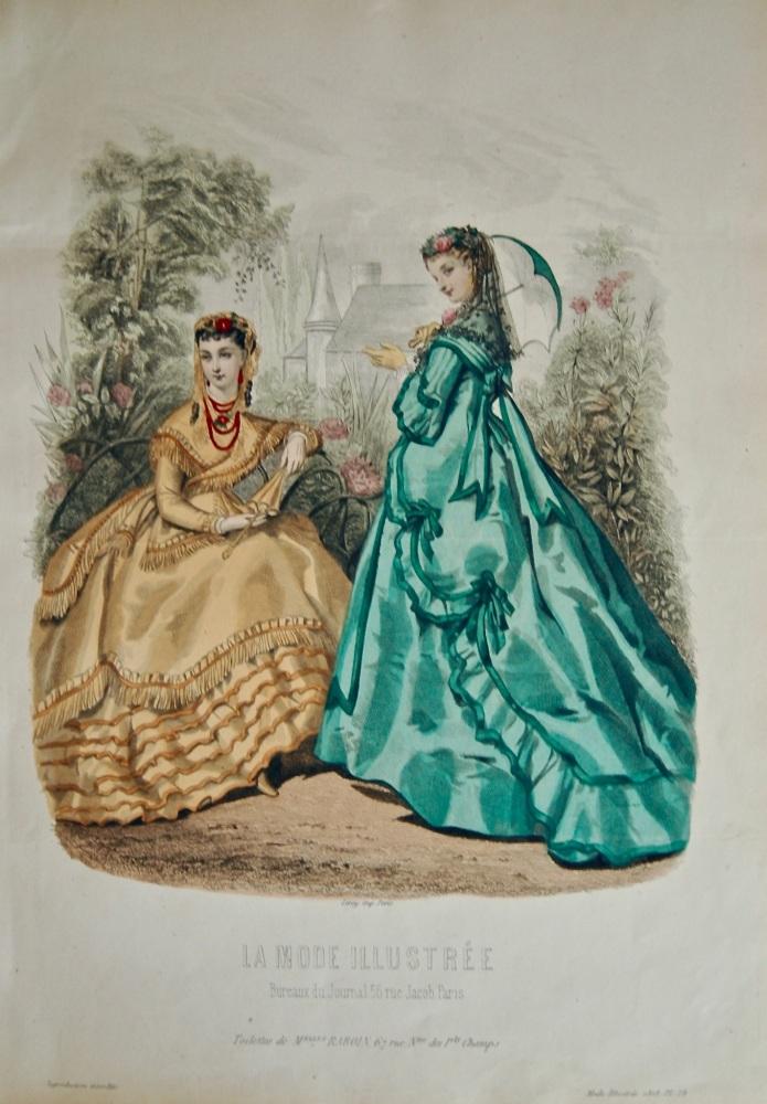 La Mode Illustree. 1868. Number 28. (Coloured Lithograph)