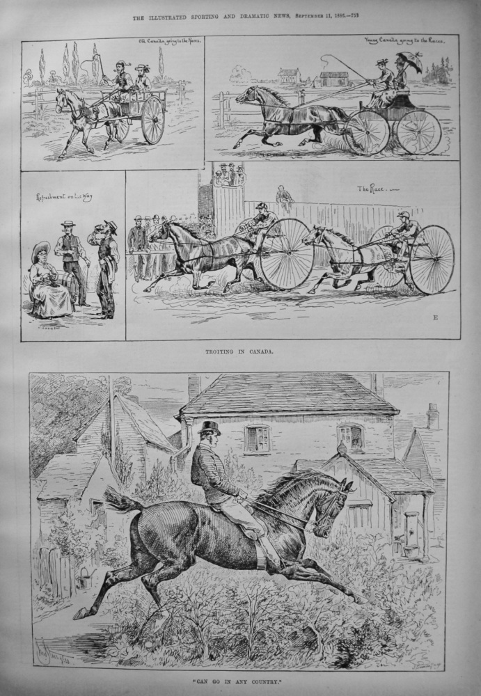 """Can Go In Any Country."" & Trotting in Canada. 1886."