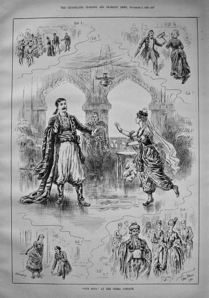 """""""Our Diva"""" at the Opera Comique. 1886."""