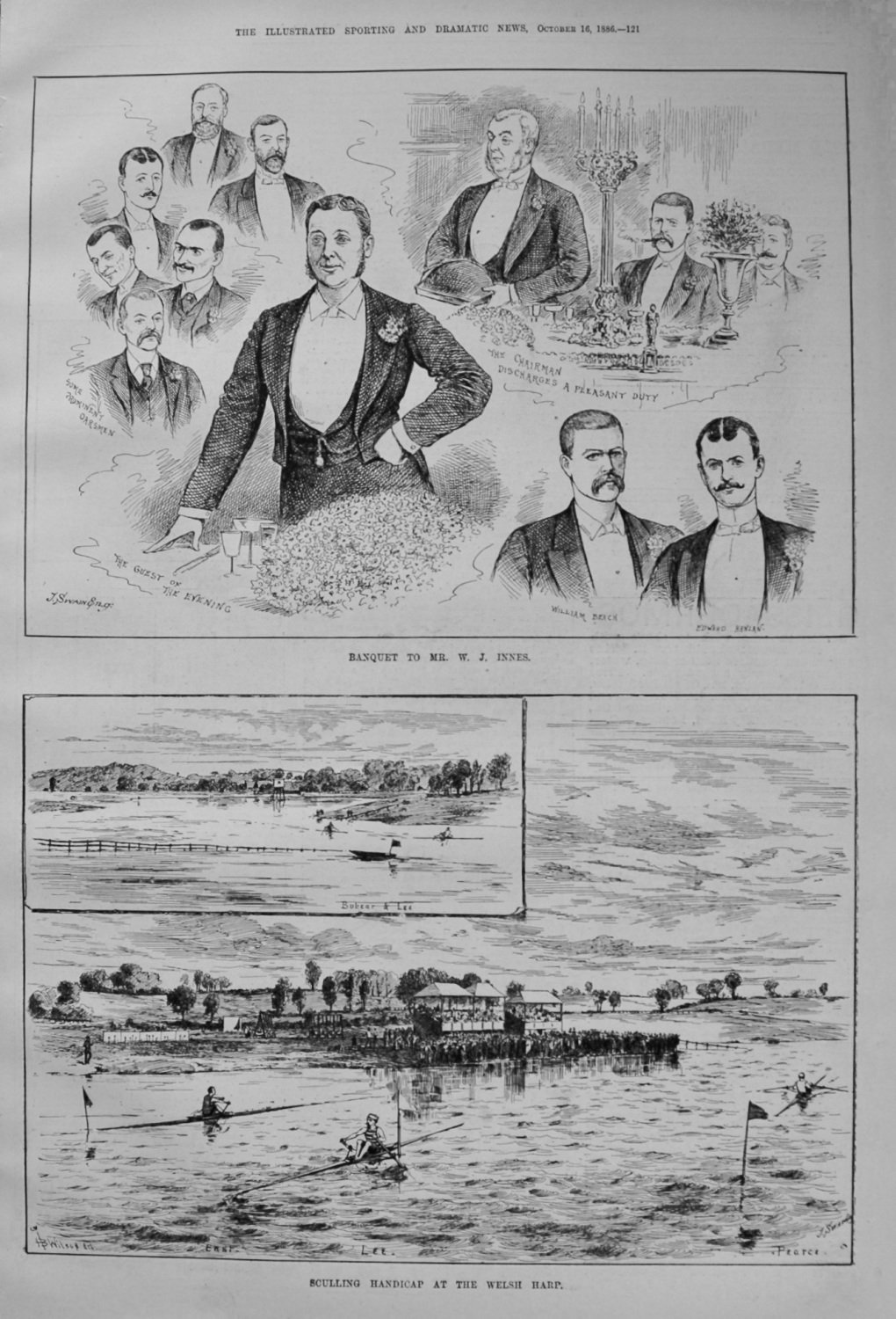 Banquet to Mr. W. J. Innes. & Sculling Handicap at the Welsh Harp. 1886