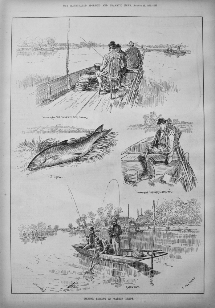 Barbel Fishing in Walton Deeps. 1886.
