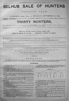 Belhus Sale of Hunters. (Twelfth Year). 1886.