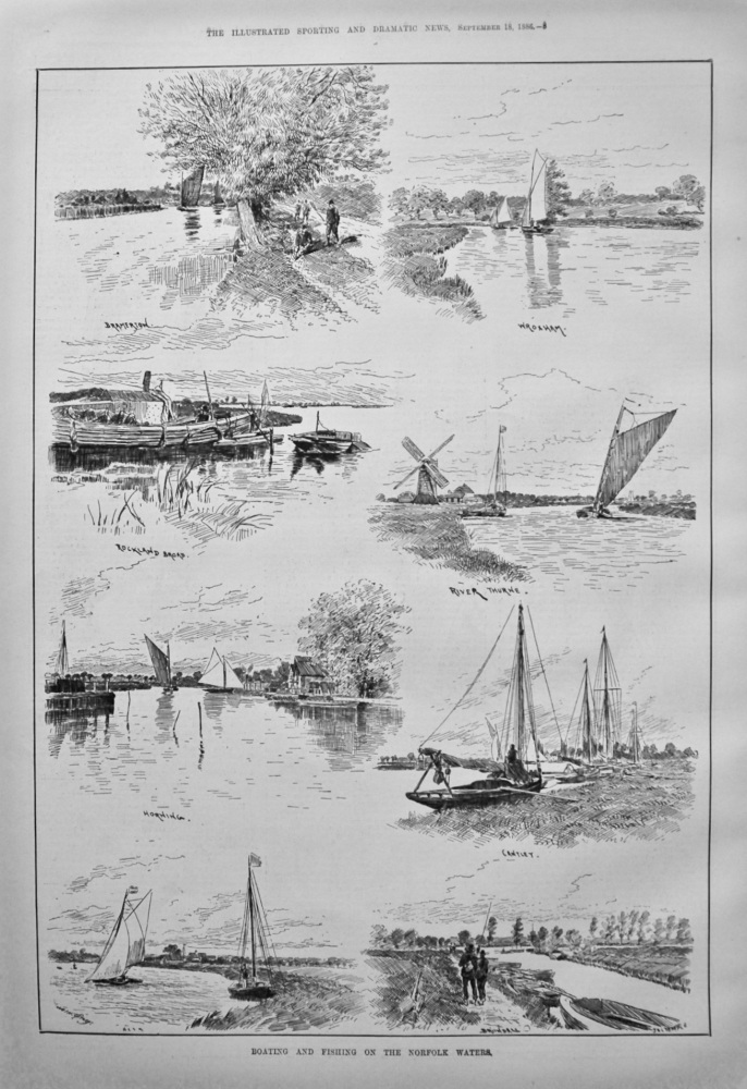 Boating and Fishing on the Norfolk Waters. 1886.