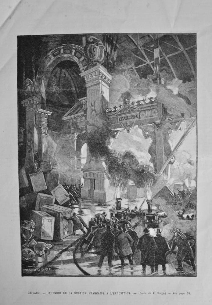 Chicago. - Incendie De La Section Francaise A L'Exposition. 1899.