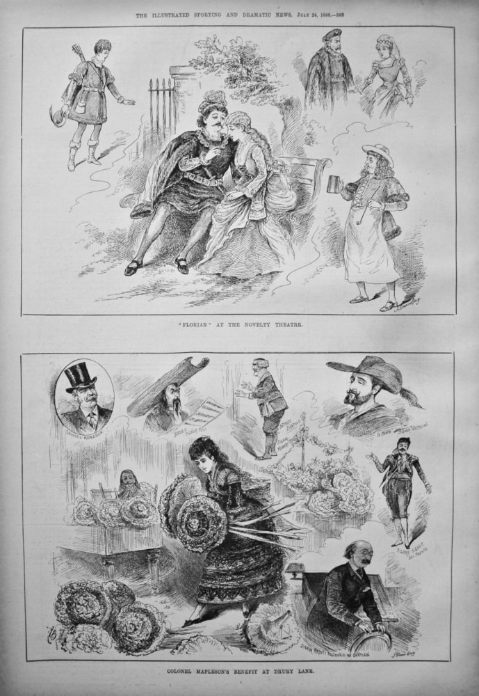 """Colonel Mapleson's Benefit at Drury Lane. & """"Florian"""" at the Novelty Theatre. 1886"""