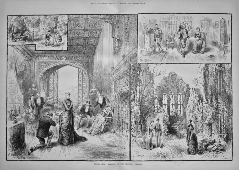 "Scenes from ""Harvest"" at the Princess's Theatre. 1866."