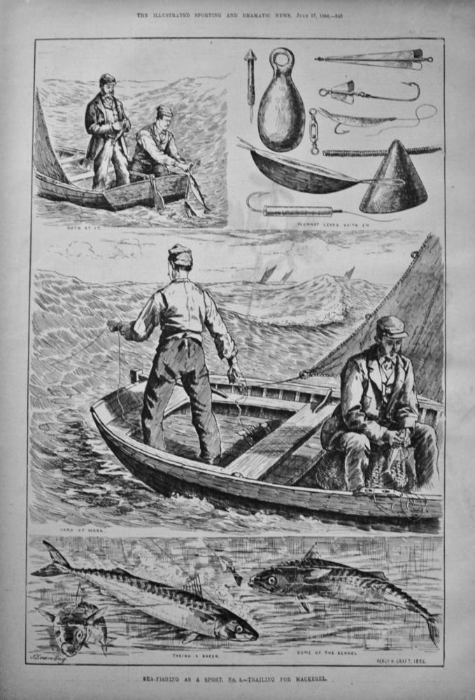 Sea-Fishing as a Sport. No. 5.- Trailing for Mackerel. 1886