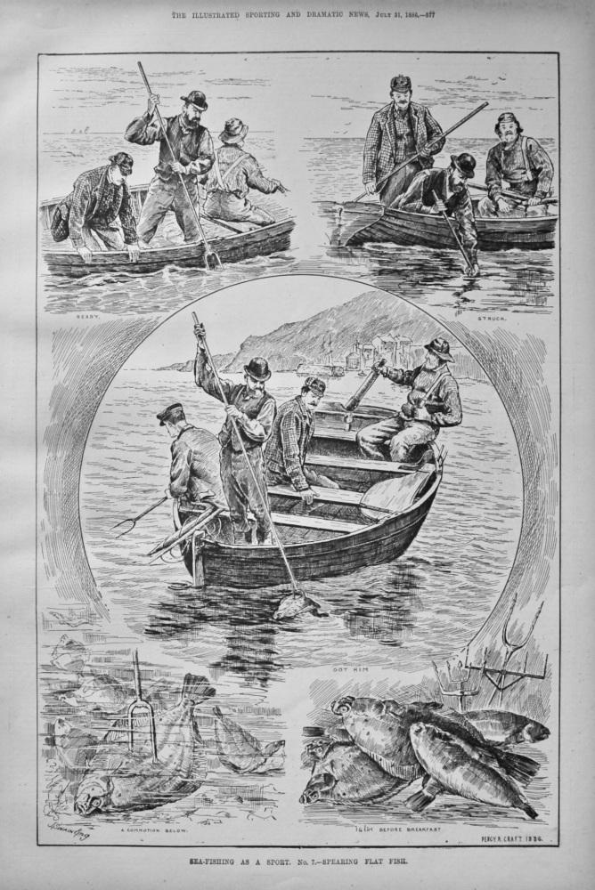 Sea-Fishing as a Sport. No. 7.- Spearing Flat Fish. 1886