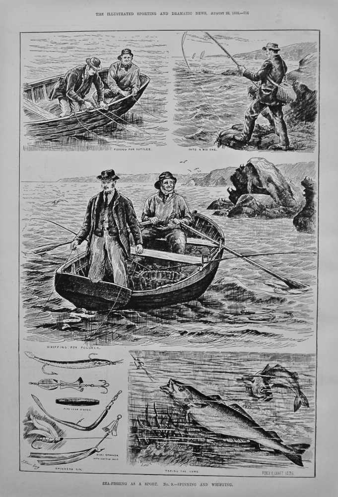 Sea-Fishing as a Sport. No. 9.- Spinning and Whiffing. 1886