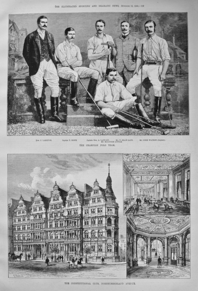 The Constitutional Club, Northumberland Avenue. & The Champion Polo Team. 1886.
